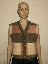 3 Tones Brown Squared Suede Western Cowboy Riding Winter Waistcoats Size 12 / 38
