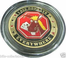 I SEE DONKEYS - EVERYWHERE gold color Poker Card Guard Protector