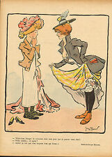 """le rire - colour print from 1899  titled """"  young ladies comparing dress's """""""