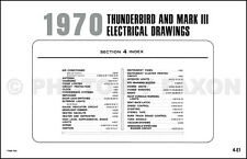 1970 Mark III and Thunderbird ORIGINAL Wiring Diagram Ford Tbird T Bird Lincoln