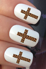NAIL ART SET #321. x24 LEOPARD ANIMAL PRINT CROSS WATER TRANSFERS/DECAL/STICKERS