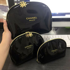 CHANEL BEAUTE Black Gold Snowflake Makeup Cosmetic Bag Pouch Case Zip LOT 3pcs