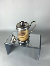19th century Silver Plate Glass wax jack with wax coil, Unique Cup Shape Minty