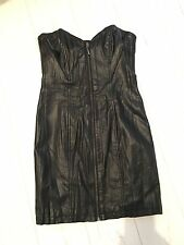 H&M Faux Leather Black Zip Bandeau Dress UK 12 Small Mini Party Layer BNWT