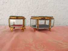 ANTIQUE/ORIGINAL 2 FRENCH BRASS BEVELED GLASS/TRINKET/JEWELRY BOX 19th.