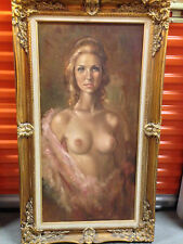 "Leo Jansen Original Signed Nude Oil Painting,""Rebecca""-Verification back canvas"