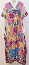 PLUS SIZE HIPPY RETRO BOHEMIAN FLOWERS PRINT KAFTAN DRESS BLUE