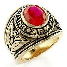 18K EP GOLD  US ARMY MILITARY INLAY RING sz 14   RUBY