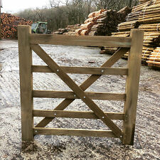 4ft 5 Bar Wooden Diamond Braced Farm Field Entrance Pathway Gate 1.2m 120cm