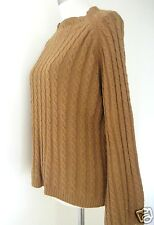 ANTHROPOLOGIE Tracy Reese Rust camel cotton cashmere cabled sweater M $150+