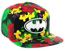 DC COMICS BATMAN HIBISCUS SNAPBACK HAT CAP BLACK FLORAL RASTA THE DARK KNIGHT