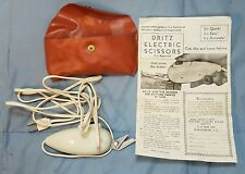 Vtg Dritz White Electric Scissors Sewing Fabric Shears Cat No 716 12W with Case