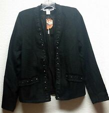 Black Studded Cardigan Jacket Punk Goth Necessary Objects Long Sleeve Size L