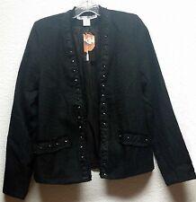 Black Studded Cardigan Jacket Punk Goth Necessary Objects Long Sleeve Size L