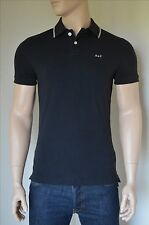 NEW Abercrombie & Fitch Classic Tipped Colar A&F Logo Polo Shirt Black S