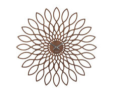 Karlsson Sunflower MDF Wall Clock, 60cm, Walnut Wood Veneer