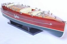 "TYPHOON Boat L27"" (68cm long) - Wood-crafted boat model. Leather seats."