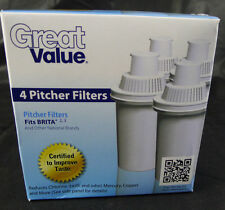 Lot 4 Great Value Water Pitcher Filters Cartridges Replacement Fits Brita 2 3