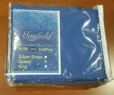 Queen Waterbed Sheet Set California Queen Poly/Cotton Royal Blue