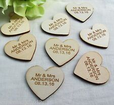 100P Personalised Wooden Love Heart Mr&Mrs Wedding Table Centerpieces Decoration