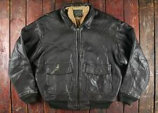 VTG AVIREX US NAVY TYPE G-1 BROWN LEATHER FLIGHT BOMBER JACKET USN BIKER M/L