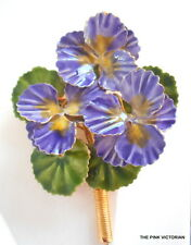 *VERY RARE!*ORIGINAL BY ROBERT FLOWER PIN BOUQUET 3-D REALISTIC PURPLE VIOLETS