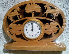 NEW HAND CARVED WOOD WOODEN CLOCK HORSE TREES CLOVER BY LARRY CUTLIP SHRINK WRAP
