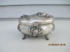 Vint JB Jennings Bros Art Nouveau Silverplate Jewelry Casket Trinket Box Lotus