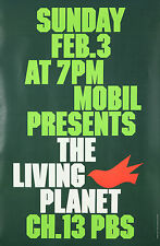 Original Vintage Poster Living Planet Green Environment Earth Nature Recycle Art