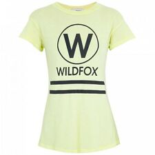 WILDFOX COUTURE YACHT CLUB YELLOW LOGO TEE TOP XS 8 4 36 £75!