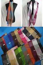 Wholesale Lot of 12 soft plaid checked 100% pashmina scarves shawl wrap stole