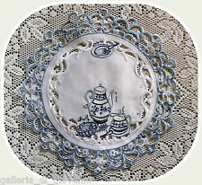"""TEATIME ~  Lace  Doily  11""""  White & Blue Doilies Tea English  European"""