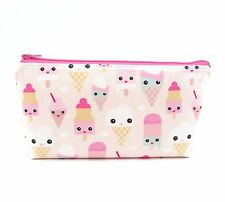 Cosmetic Bag, Zip Pouch, Makeup Bag, Pencil Case - Cute Ice Cream Faces