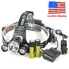 9500LM 3xXM-L T6 LED Headlamp Hunting Head Torch Light Flashlight 18650 Charger