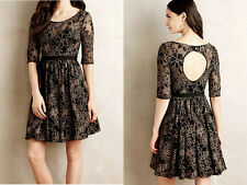 ANTHROPOLOGIE NWT Plenty by Tracy Reese Blooming Burnout Dress Black Sz 10P $188