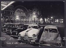 TORINO CITTÀ 410 STAZIONE - NOTTURNO - AUTO D'EPOCA Cartolina FOTOG. viagg. 1958