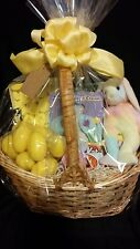 Deluxe Spring / Easter Gift Basket + Candy + TY Beanie Baby Hippie Bunny Yellow