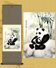 Great Gift and Decor! Chinese Silk Scroll Paint----Panda S030