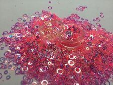 Mezcla de brillo hermoso arte en uñas Holo Aros para Acrílico y Gel de Salmón Aplicación