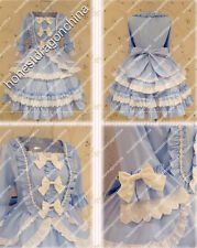 Gothic lolita Blue White Victorian Dress Custom Tailor made Cosplay costume S6