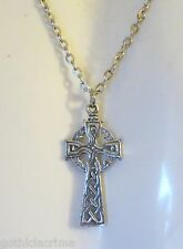 GOTHIC COLLANA CIONDOLO CROCE CELTICO 35X17MM  PELTRO WICCA PAGAN CELTIC CROSS