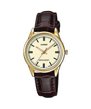 Casio Women's Brown Leather Strap Watch, Champagne Dial,  LTP-V005GL-9A