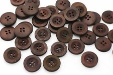 Brown Wide Edge Wooden Button Four Holes Sweater Coat Natural Wood 20mm 20pcs