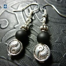 ♥ EASY SHIP TO USA Nice Black Onyx Plated Silver YinYang Earrings