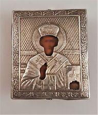 russische handgemalte Ikone 84 Silber Hl.Nikolaus der Wundertäter