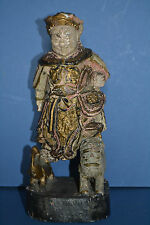 Antique 19th Century Chinese Carved Wood and Lacquered Statue Emperor,c 1890