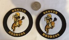 """(2) DENVER BRONCOS VINTAGE EMBROIDERED IRON ON PATCHES   3""""x3"""" AWESOME!!"""