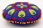 Suzani Pillow Covers Round Decorative Cotton Cushion Pom Pom Throw Pillow Cases