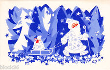 1958 Russian folding NEW YEAR card Blue / White scene of Santa in forest, sledge