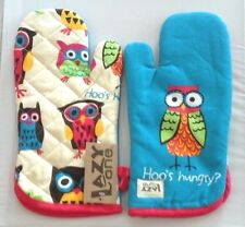 Lazy One Oven Mitt Pot Holder Owl Hoo's Hungry Blue Red Green